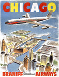 Chicago Airline Vintage Travel Poster