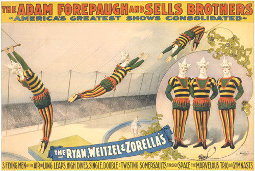 The Adam Forepaugh and Sells Brothers, America's greatest shows consolidated: The Ryan, Weitzel & Zorella's poster
