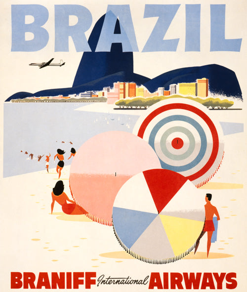 Brazil travel poster, Braniff Airways