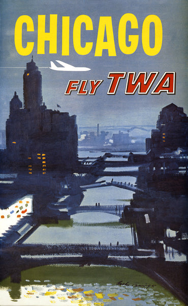 Fly to Chicago Vintage Travel Poster