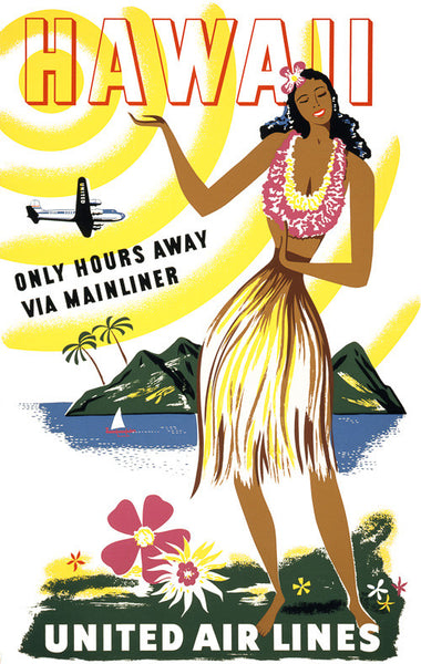 Hawaii: Only Hours Away Via Mainliner Vintage Travel Poster