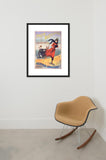 Patin Bicyclette Road Skates framed poster of advertisement in room