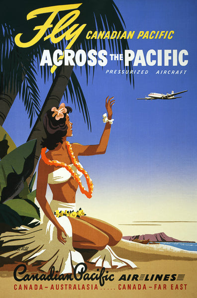 Fly Canadian Pacific Across the Pacific Vintage Travel Poster