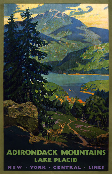 Adirondack Mountains, Lake Placid New York Central Lines travel poster