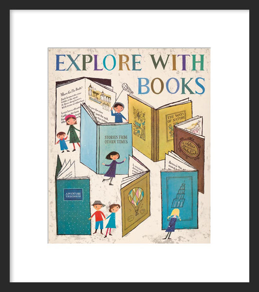 Explore with books framed poster