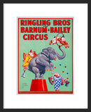 Ringling Bros Circus Elephant and Chimpanzees framed poster