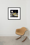 Lunar Unicycle framed print in room