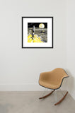 Nuclear Rocketship framed print in room