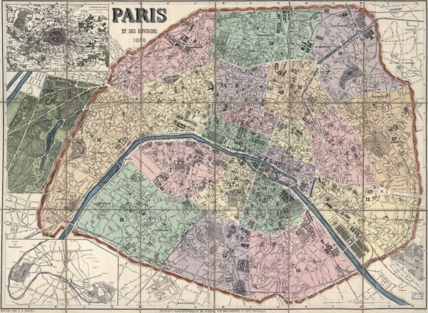 Paris map, 1878