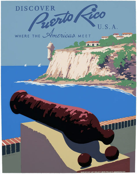 Discover Puerto Rico U.S.A. Vintage Travel Poster