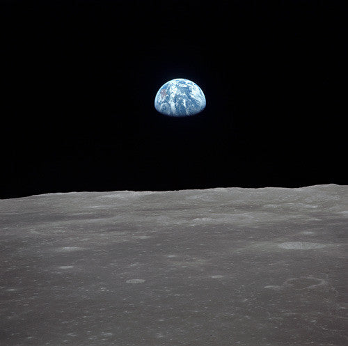 Earth Rise over Lunar Horizon