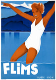 Flims Suisse Vintage Travel Poster
