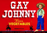 Gay Johnny Texas Vegetables fruit crate label