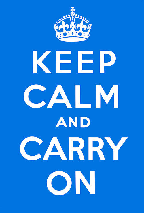 Keep Calm And Carry On Blue Vintagraph