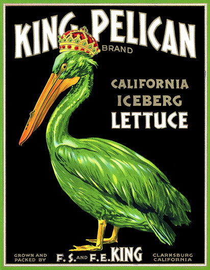 King Pelican Iceberg Lettuce fruit crate label