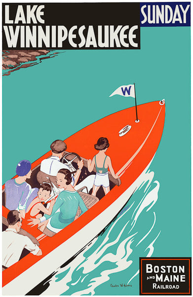 Lake Winnipesaukee Vintage Travel Poster