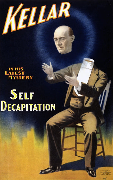 Magician Harry Kellar in His Latest Mystery: Self Decapitation