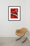 Meat, two hands full framed print in room