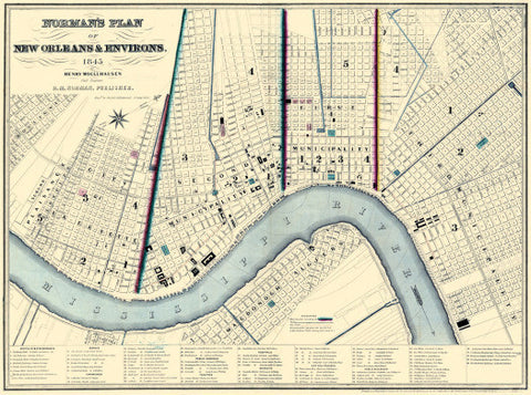 Vintage New Orleans Map, 1845 (Tan)