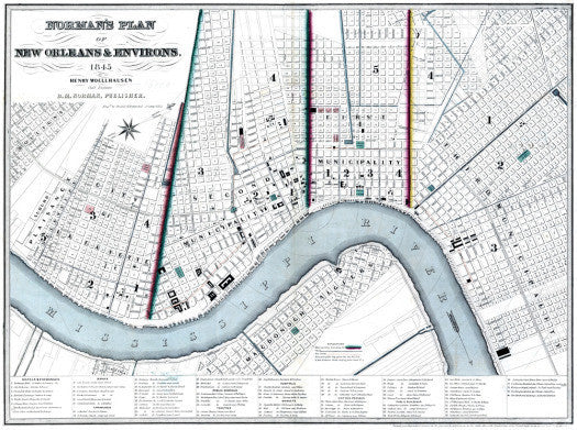 Vintage New Orleans Map, 1945 (White)