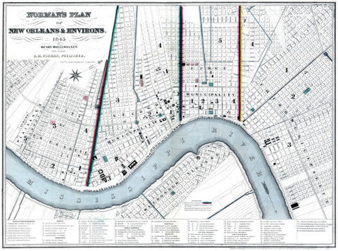 Vintage New Orleans Map, 1845 (White)