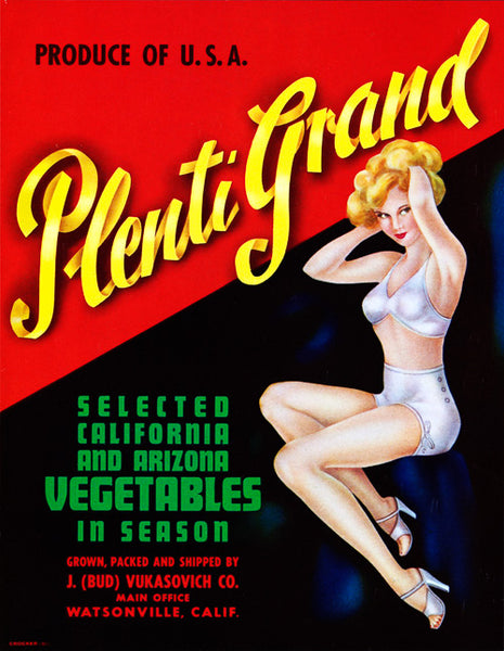 Plenti Grand Vegetables Crate Label