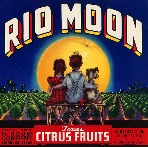 Rio Moon Texas Citrus fruit crate art