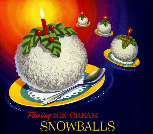 Flaming Ice Cream Snowballs