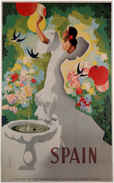 Spanish Garden Vintage Travel Poster