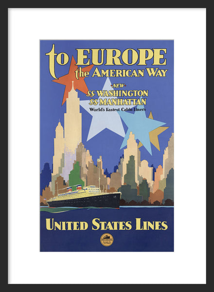 To Europe the American Way framed poster
