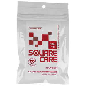 Square Care Vegan Raspberry Gummies | CBD Edibles | AndHemp.com