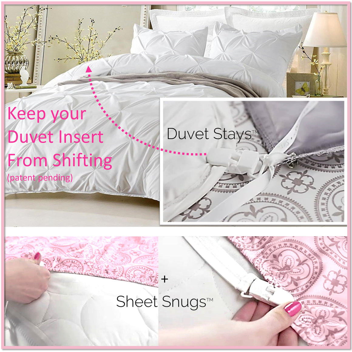 "Duvet Stays and Sheet Snugs- The Complete ""Sleep Tight"" Bedding System - Amazon's Choice - Boottique"