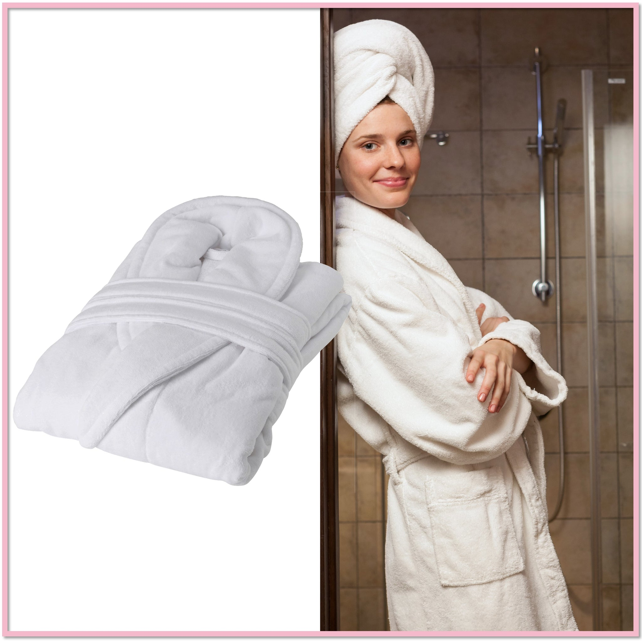 8aa3a85162 College Terry-Plush White Robe - Boottique