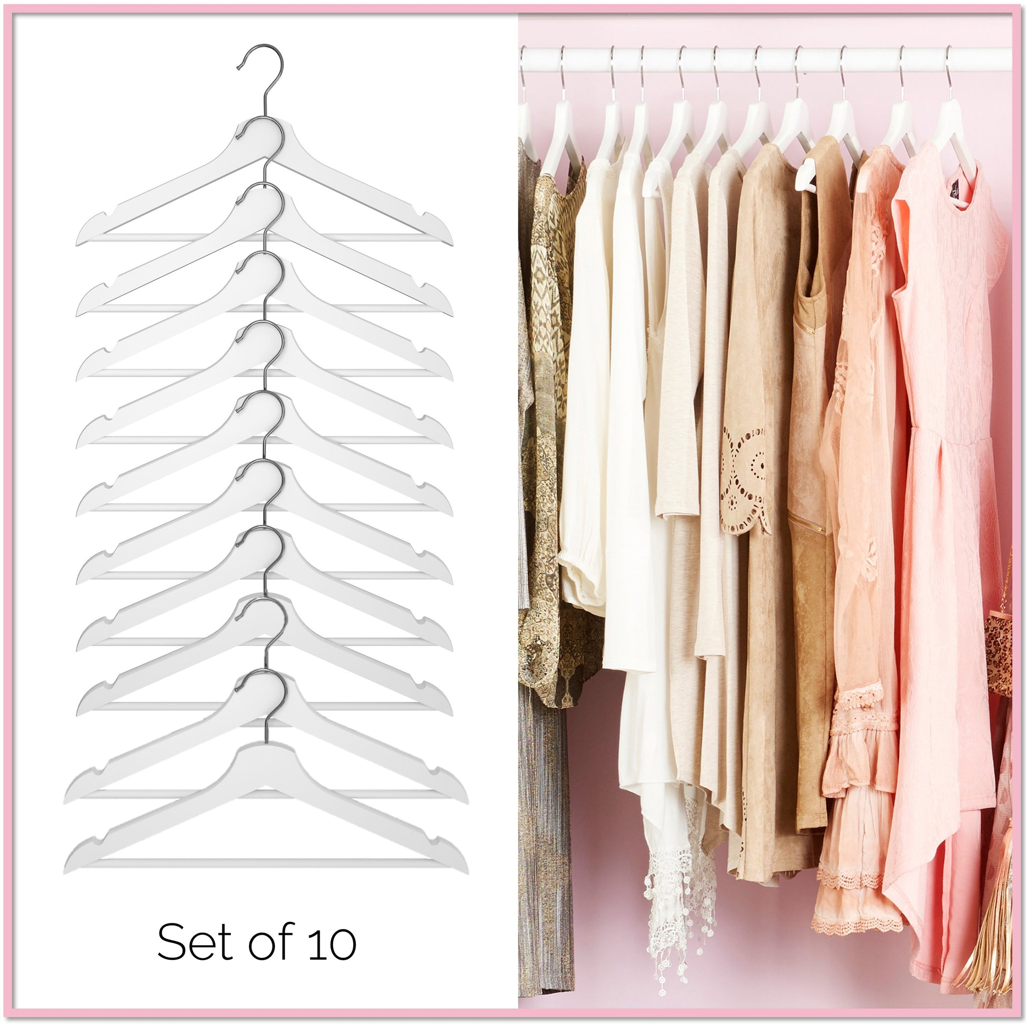 98aab31549 Glamour Premium Wood Hangers™ (Set of 10) - Boottique