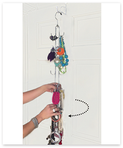 Jewelry Stax™ - Rotating Over the Door Hanging Jewelry Organizer