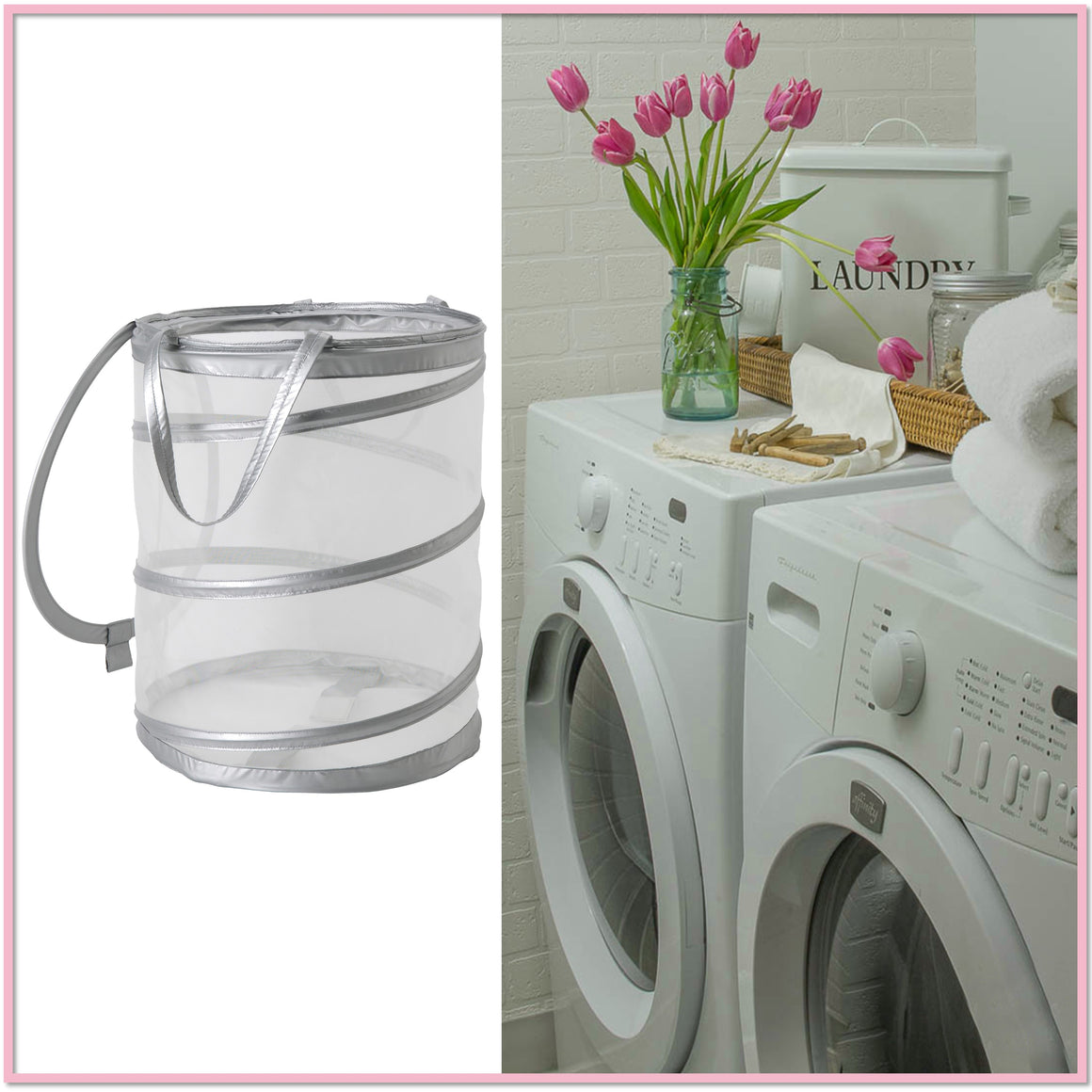 Pop-Up Silver Laundry Basket/Hamper - Boottique
