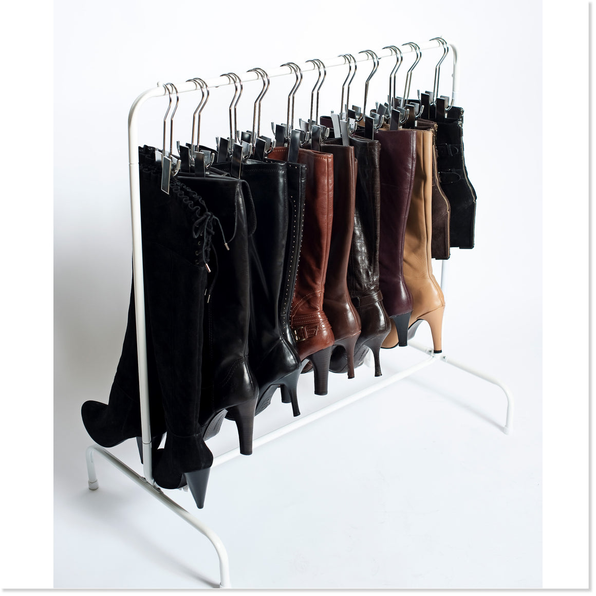 The Boot Rack™ (White Rack + 6 Boot Hangers)   Boottique