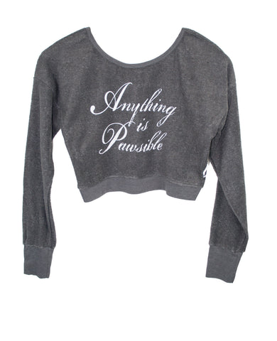 ANYTHING IS PAWSIBLE WOMEN'S LONG SLEEVE SWEATSHIRT