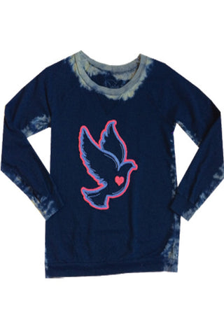 DOVE HEART EMBROIDERED TWEEN LONG SLEEVE T-SHIRT