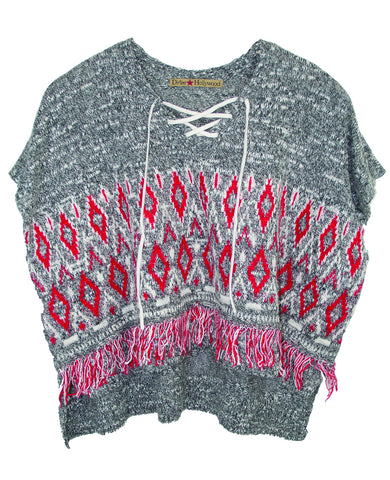 LACES PONCHO TWEEN SHORT SLEEVE SWEATER