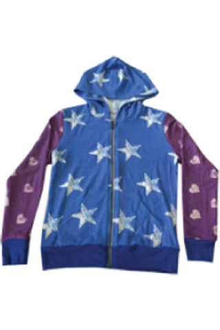 STAR HEARTS TWEEN LONG SLEEVE ZIPPER HOODIE