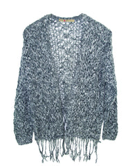 NON CLOSURE CARDI FRINGED TWEEN SWEATER