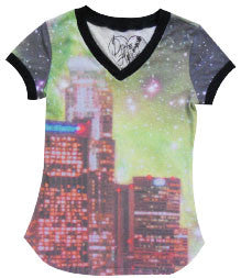 COSMIC CITY TWEEN V NECK SHORT SLEEVE T-SHIRT