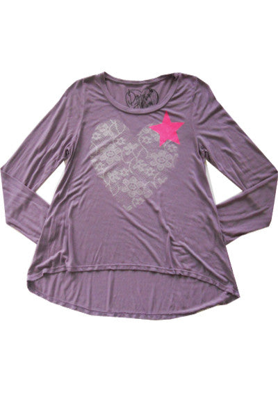 LACE HEART LONG SLEEVE TOP