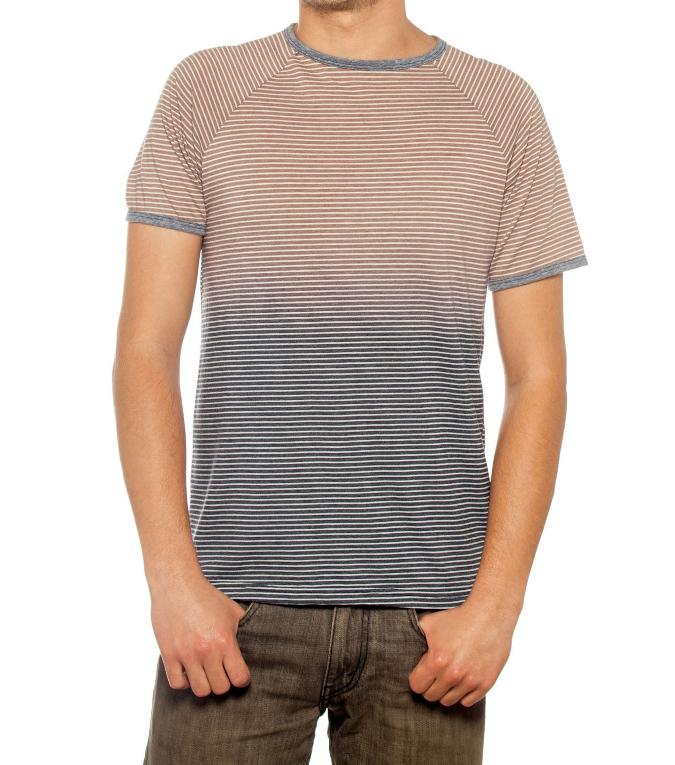 TRIBLEND STRIPE FADE OUT MEN T-SHIRT