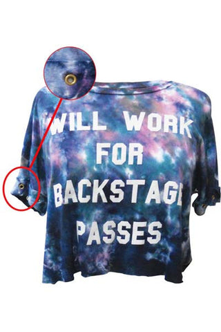 WILL WORK FOR BAKSTAGE PASSES WOMEN T-SHIRT