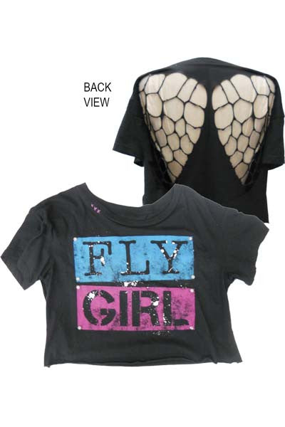 FLY GIRL WITH WINGS MESH BACK WOMEN T-SHIRT