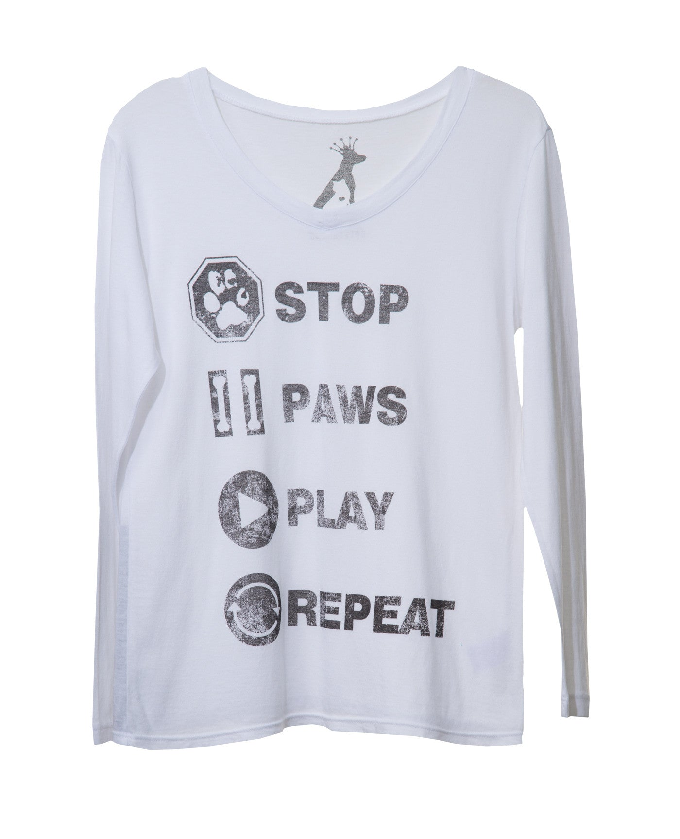 STOP PAWS PLAY KIDS' V-NECK LONG SLEEVE TEE