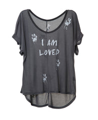 I'M LOVED WOMEN'S DOLMAN ROLL SHORT SLEEVE TEE