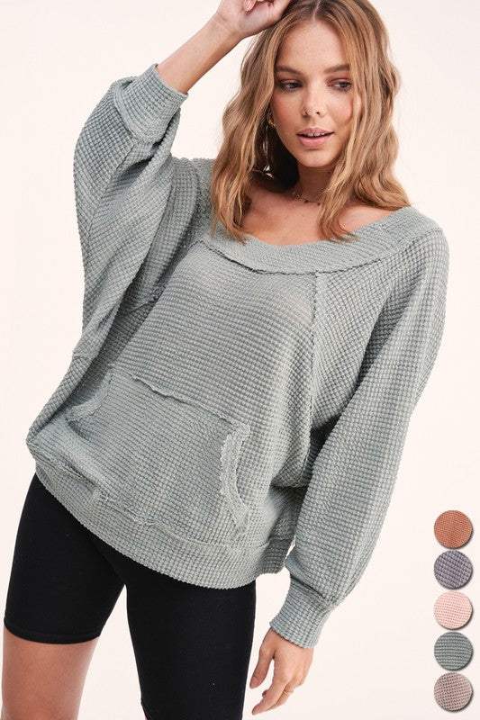 Talking Cozy Waffle Knit Top